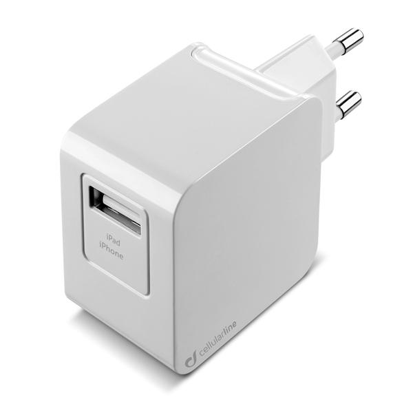 Сетевое зарядное устройство Cellular Line 1 USB 2A + кабель Lightning (ACHUSBMFIIPH2AW) белого цвета