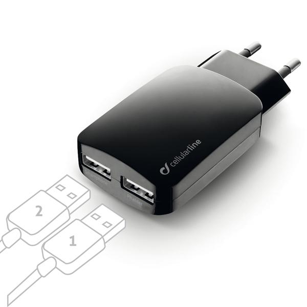 Сетевое зарядное устройство Cellular Line 2 USB 3.1A (ACHUSBMOBILEDUAL3A) черного цвета