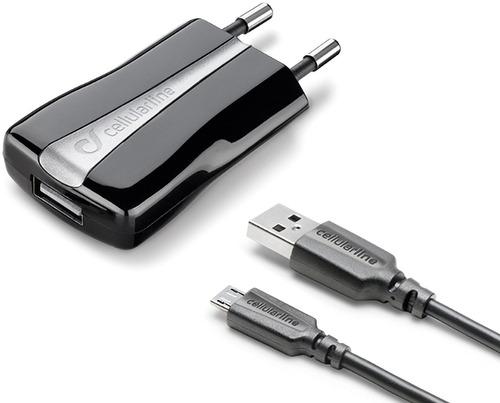 Сетевое зарядное устройство с кабелем Cellular Line USB Kit 5W/1A +MicroUSB,Black(ACHUSBKITMICROUSB2) черного цвета