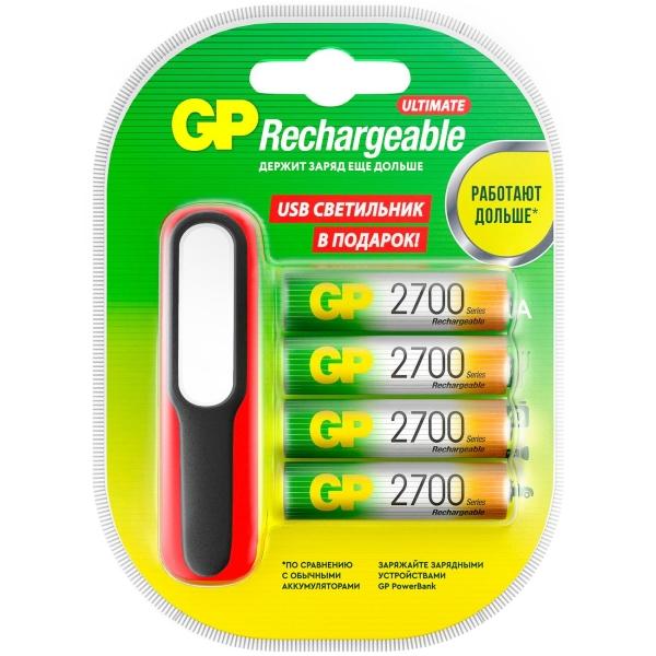 Аккумуляторы GP AA (HR6), 2700 мАч 4 шт. + USBLED фонарь (GP270AAHC/USBLED-2CR4) фото