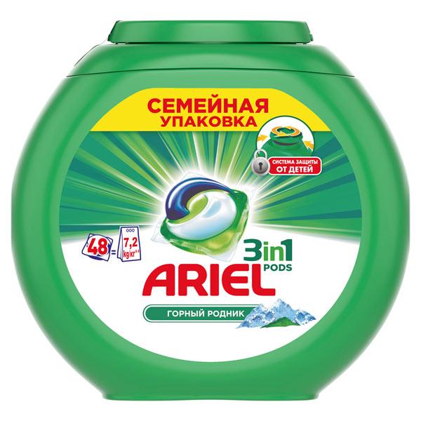 Жидкость для стирки Ariel 3in1 PODS 48 кап. Горный Родник