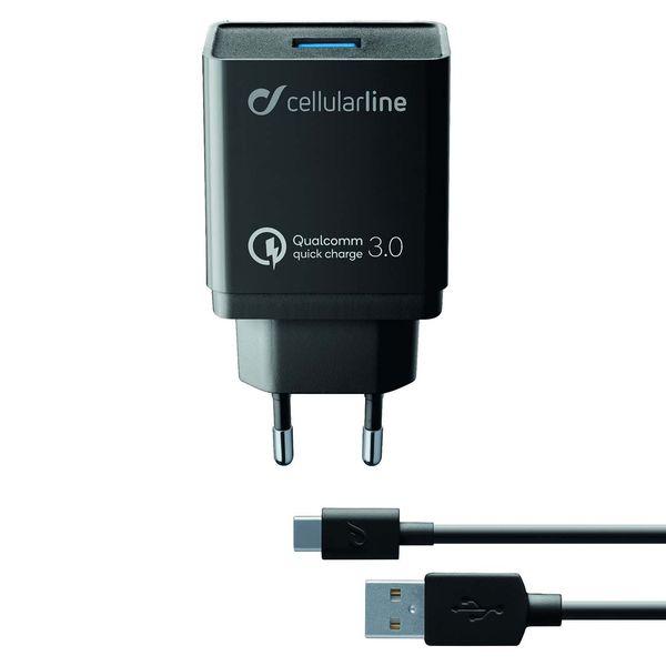 Сетевое зарядное устройство Cellular Line USB Kit QC + Type-C 1м, Black (ACHHUKITQCTYCK) черного цвета