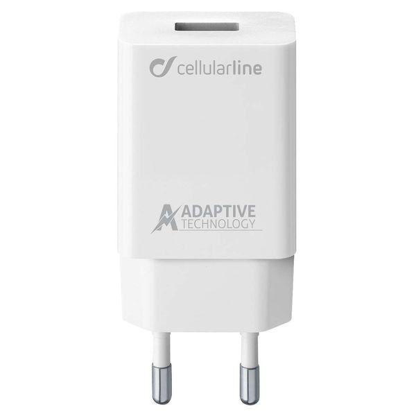 Сетевое зарядное устройство Cellular Line USB Adaptive Fast 15W, White (ACHSMUSB15WW) белого цвета