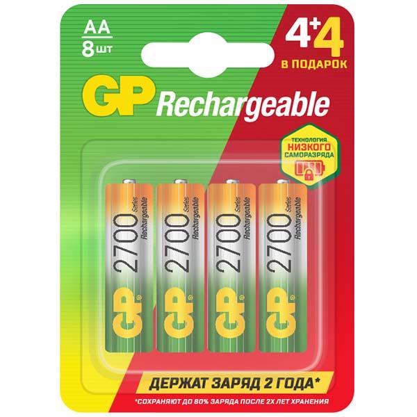 Аккумулятор GP АА(HR6) 8 шт. (GP270AAHC4/4MVM-2CR8) 4+4