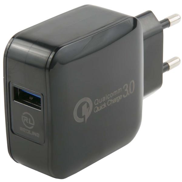 Сетевое зарядное устройство Red Line Tech USB QC 3.0 , Black