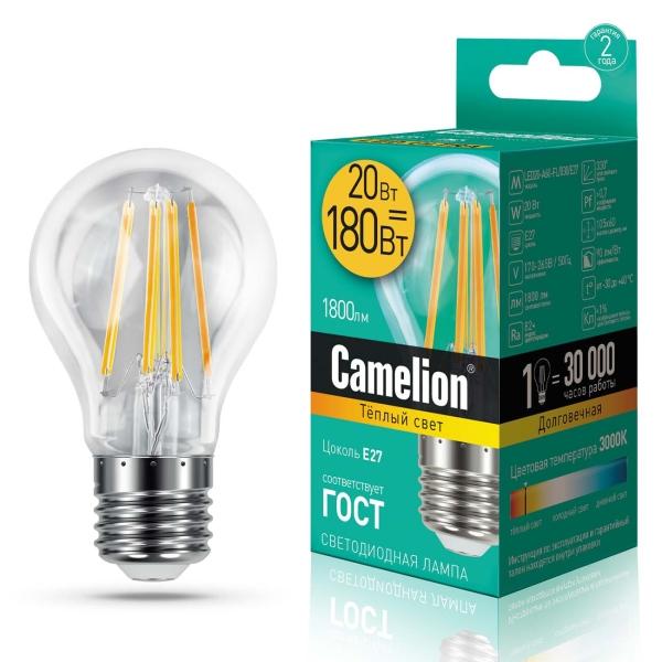 Лампа LED Camelion LED20-A60-FL/830/E27