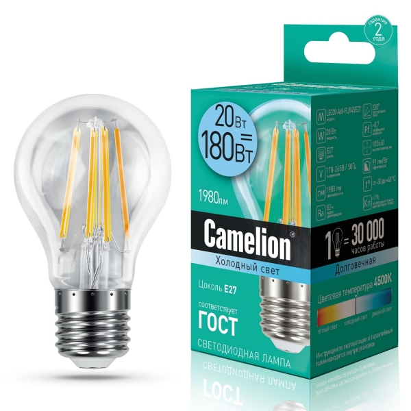 Лампа LED Camelion LED20-A60-FL/845/E27